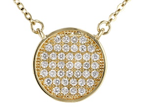 White Cubic Zirconia 10k Yellow Gold Necklace 0.37ctw