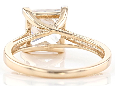 White Cubic Zicronia 10k Yellow Gold Ring 4.05ctw