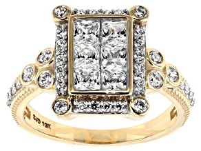 White Cubic Zirconia 10k Yellow Gold Ring 2.24ctw