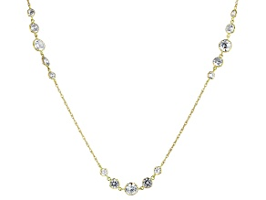 White Cubic Zirconia 10k Yellow Gold Station Necklace 5.73ctw