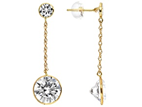 White Cubic Zirconia 10k Yellow Gold Earrings 7.39ctw