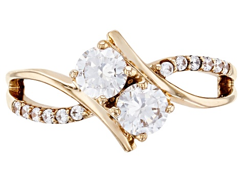 White Cubic Zirconia 10k Yellow Gold Ring 1.46ctw