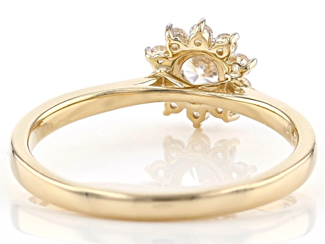 White Cubic Zirconia 10k Yellow Gold Ring 0.84ctw