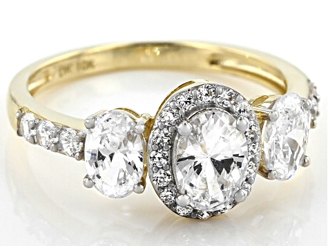 White Cubic Zirconia 10k Yellow Gold Ring 3.86ctw