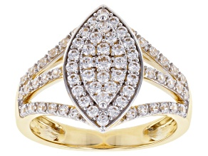 White Cubic Zirconia 10K Yellow Gold Ring 0.78ctw