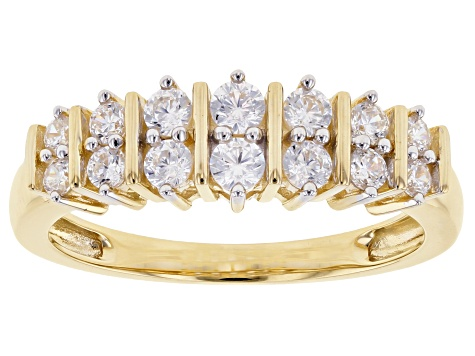 White Cubic Zirconia 10K Yellow Gold Ring 1.08ctw
