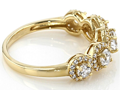 White Cubic Zirconia 10K Yellow Gold Ring 1.34ctw