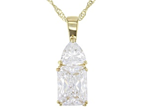 White Cubic Zirconia 10k Yellow Gold Pendant With Chain 3.55ctw
