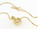 White Cubic Zirconia 10K Yellow Gold Pendant With Chain 2.22ctw