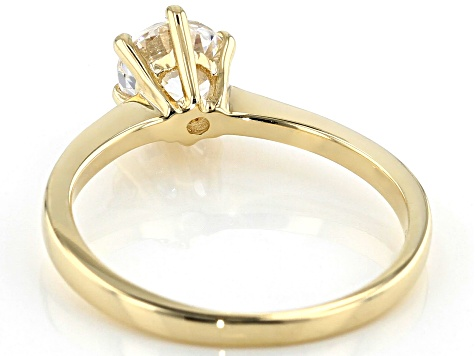 White Cubic Zirconia 10K Yellow Gold Ring 0.90ctw