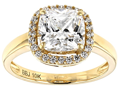White Cubic Zirconia 10k Yellow Ring 3.14ctw