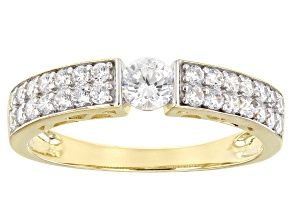 White Cubic Zirconia 10k Yellow Gold Ring 1.26ctw