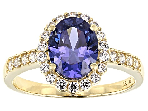 Blue and White Cubic Zirconia 10k Yellow Gold Ring 2.95ctw