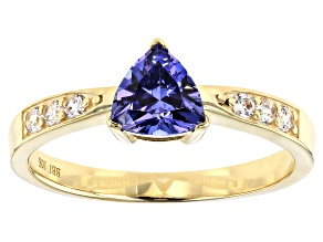 Blue Cubic Zirconia 10k Yellow Gold Ring 1.44ctw