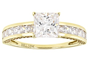White Cubic Zirconia 10k Yellow Gold Ring 3.19ctw