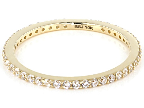 White Cubic Zirconia 10k Yellow Gold Ring 0.46ctw