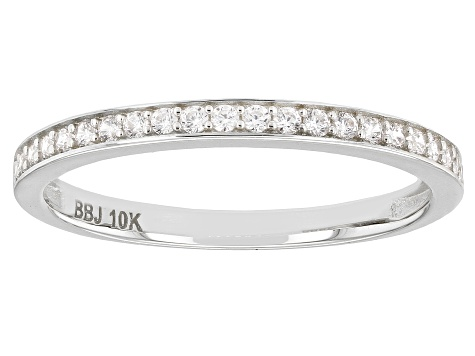 White Cubic Zirconia 10k White Gold Ring 0.23ctw