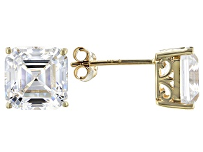 Asscher White Cubic Zirconia 10k Yellow Gold Earrings 8.01ctw