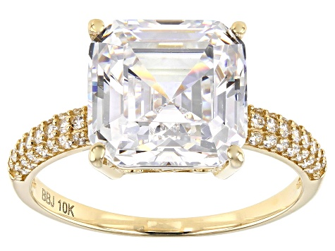 Asscher White Cubic Zirconia 10k Yellow Gold Ring 9.73ctw