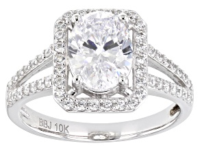 White Cubic Zirconia 10k White Gold Ring 3.20ctw