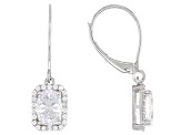 White Cubic Zirconia 10k White Gold Earrings 3.08ctw