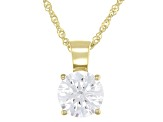 White Cubic Zirconia 10k Yellow Gold Pendant With Chain 1.00ctw