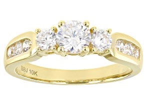 White Cubic Zirconia 10k Yellow Gold Ring 1.44ctw