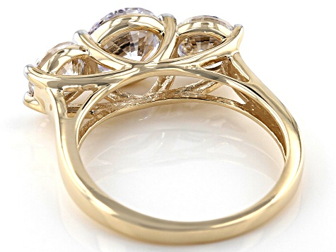 White Cubic Zirconia 10k Yellow Gold Ring 5.75ctw