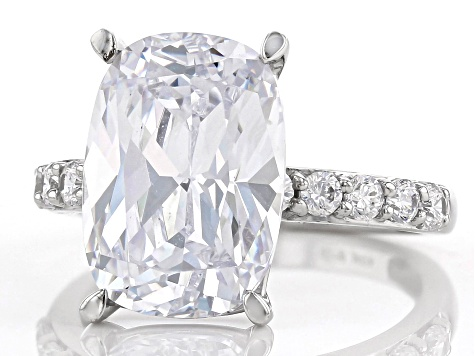 White Cubic Zirconia 10K White Gold Ring 12.31ctw