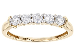 White Cubic Zirconia 10k Yellow Gold Ring 1.11ctw