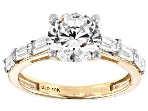 White Cubic Zirconia 10K Yellow Gold Ring 4.60ctw (2.88ctw DEW)