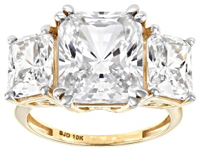 White Cubic Zirconia 10K Yellow Gold Ring 15.28ctw (10.27ctw DEW)