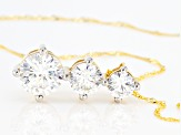 White Cubic Zirconia 10K Yellow Gold Pendant With Chain 5.50ctw