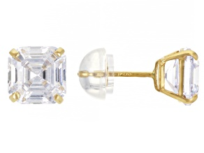 White Cubic Zirconia 14K Yellow Gold Asscher Cut Stud Earrings 7.20ctw