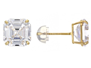 White Cubic Zirconia 14k Yellow Gold Asscher Cut Stud Earrings 2.52ctw