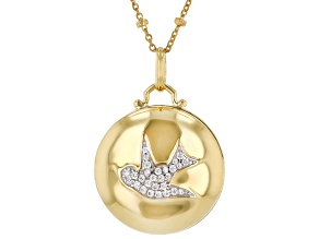 White Cubic Zirconia 1k Yellow Gold Dove Pendant With Chain 0.22ctw