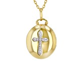 White Cubic Zirconia 1k Yellow Gold Cross Pendant With Chain 0.13ctw