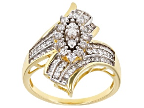 White Cubic Zirconia Rhodium Over Sterling Silver And 1k Yellow Gold Ring 1.37ctw