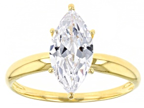 White Cubic Zirconia 1k Yellow Ring 2.70ctw