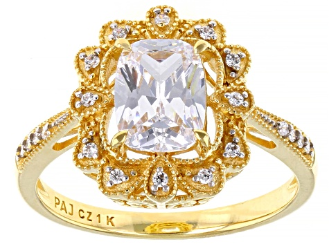 White Cubic Zirconia 1k Yellow Gold Ring 2.35ctw