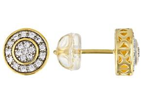 White Cubic Zirconia 1k Yellow Gold Earrings 0.36ctw