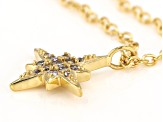 White Cubic Zirconia 1K Yellow Gold Star Necklace 0.10ctw