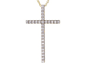White Cubic Zirconia 1K Yellow Gold Cross Pendant With Chain 0.78ctw
