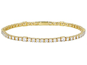 White Cubic Zirconia 1k Yellow Gold Tennis Bracelet 6.41ctw