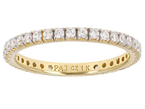White Cubic Zirconia 1k Yellow Gold Eternity Band Ring 0.99ctw