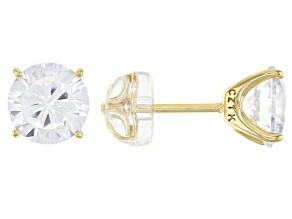 White Cubic Zirconia 1k Yellow Gold Stud Earrings 4.37ctw