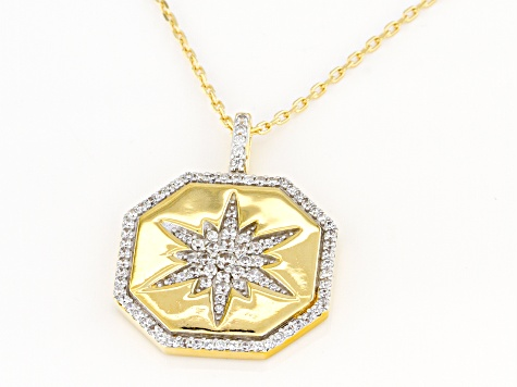 White Cubic Zirconia 1k Yellow Gold Star Pendant With Chain 0.96ctw