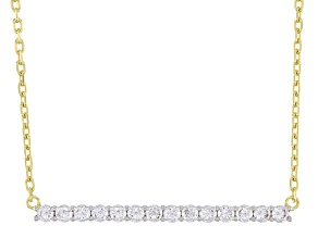 White Cubic Zirconia 1k Yellow Gold Necklace 0.81ctw
