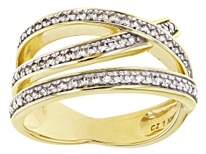 White Cubic Zirconia 1k Yellow Gold Ring 0.45ctw