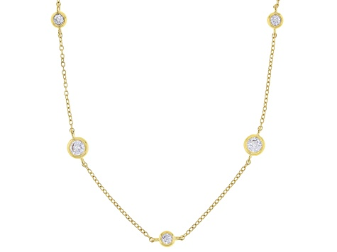 White Cubic Zirconia 1k Yellow Gold Necklace 3.43ctw